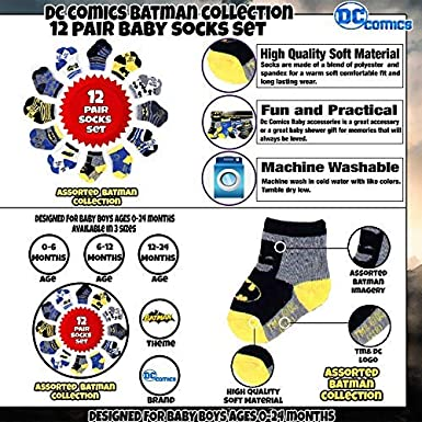 Baby Boys Age 0-24M DC Comics Assorted Superhero Characters 12 Pair Socks Set