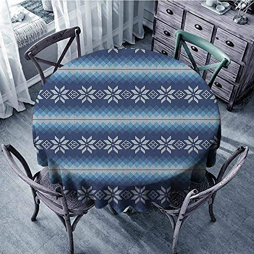 ScottDecor Food Round Tablecloth Christmas Tablecloth Winter,Traditional Scandinavian Needlework Inspired Pattern Jacquard Flakes Knitting Theme, Blue White Diameter ()