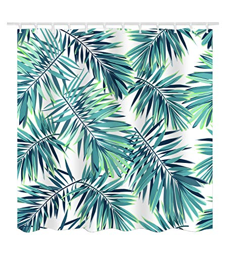 Palm Shower Curtain (Get Orange Tropical Plants Cartoon Palm Trees Banana Leaves Shower Curtain Waterproof Fabric Polyester Shower Curtain Decor Set with Hooks 72 X 72)