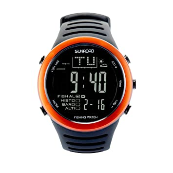 Sunroad fr720 a2 Hombres Reloj Redondo Digital Pesca barómetro altímetro termómetro multifunción reloj (naranja)