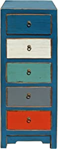 Mixed Color Blue Five Drawers Slim Chest Cabinet Acs4179