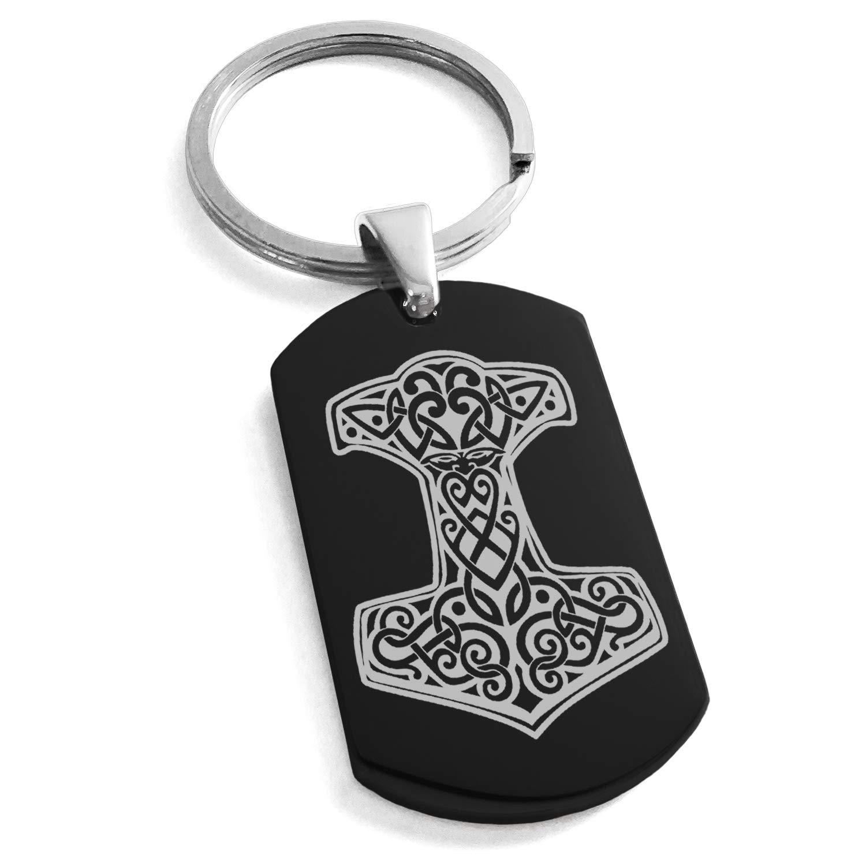 Black Stainless Steel Thor's Hammer Mjolnir Knot Viking Norse Symbol Engraved Dog Tag Keychain Keyring