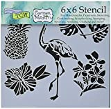 CRAFTERS WORKSHOP TCW612S Template, 6'' x 6'', Tropical Elements, White