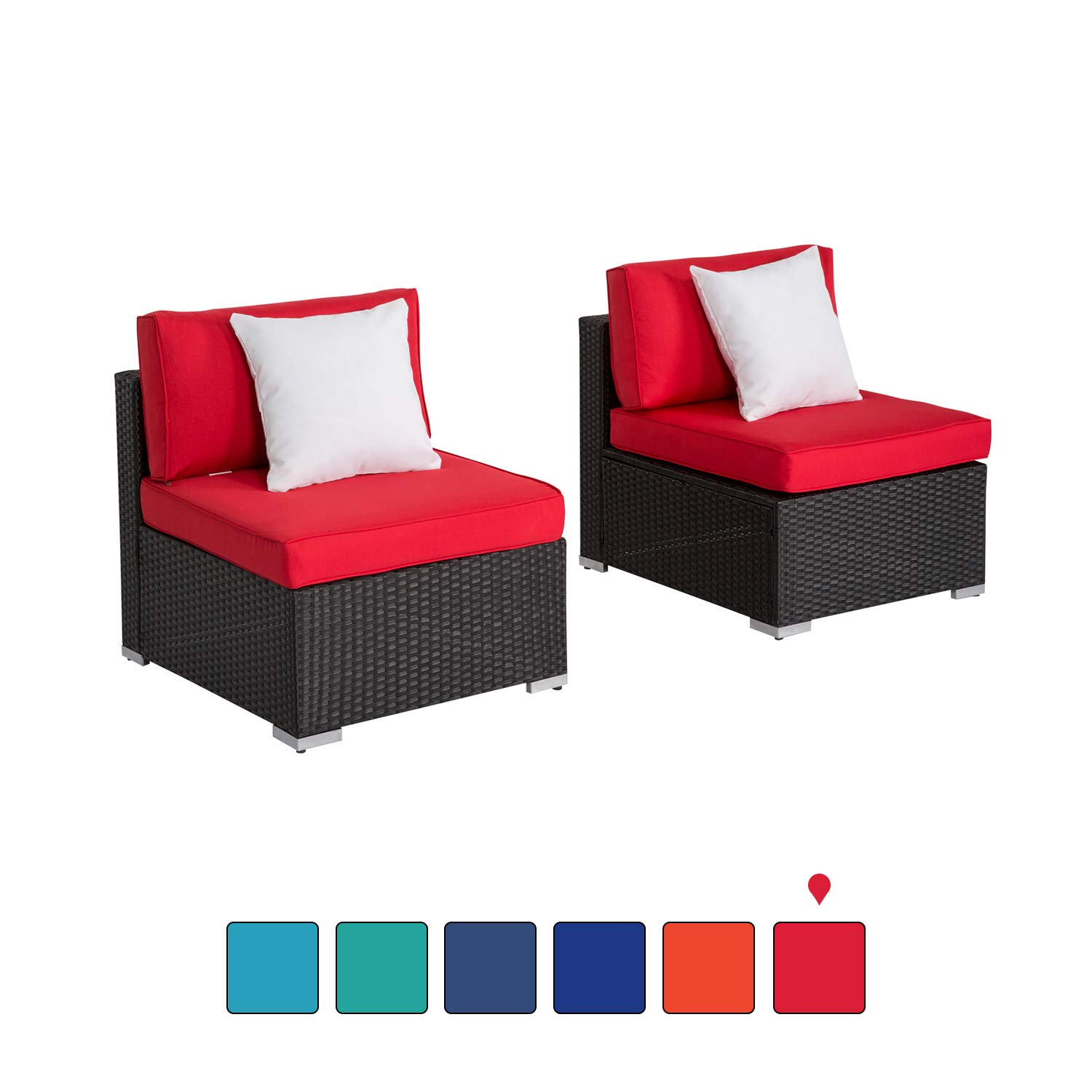 Peach Tree Outdoor Loveseat 2 PCs Patio Furniture Set, Wicker Armless Sofa Chairs Black Rattan Thick Cushions Infinitely Combination by Kinsunny