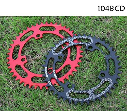 (HEALTHLL 104BCD 40/42/44/46/48/50/52T Mountain Bicycle Chainwheel MTB Bike Crankset Aluminum Narrow Wide Chainring BCD 104 46T Black )