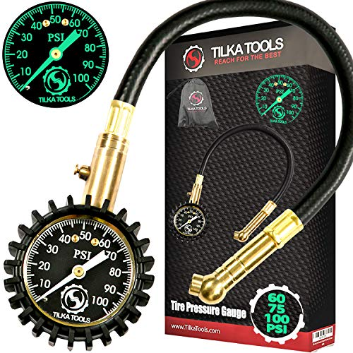 (TILKA TOOLS Tire Pressure Gauge Choose Tire Gauge Pressure (0-60)(0-75)(0-100) PSI Gauge with Analog Dial Heavy Duty for Truck Motorcycle Car or Bike Tire Gauge as Garage Gifts for All Men and Women)