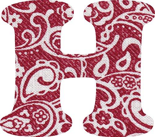 ペイズリー柄 生地 アルファベット H アップリケ レッド アイロン接着可能 大文字 coop (5cm)の商品画像