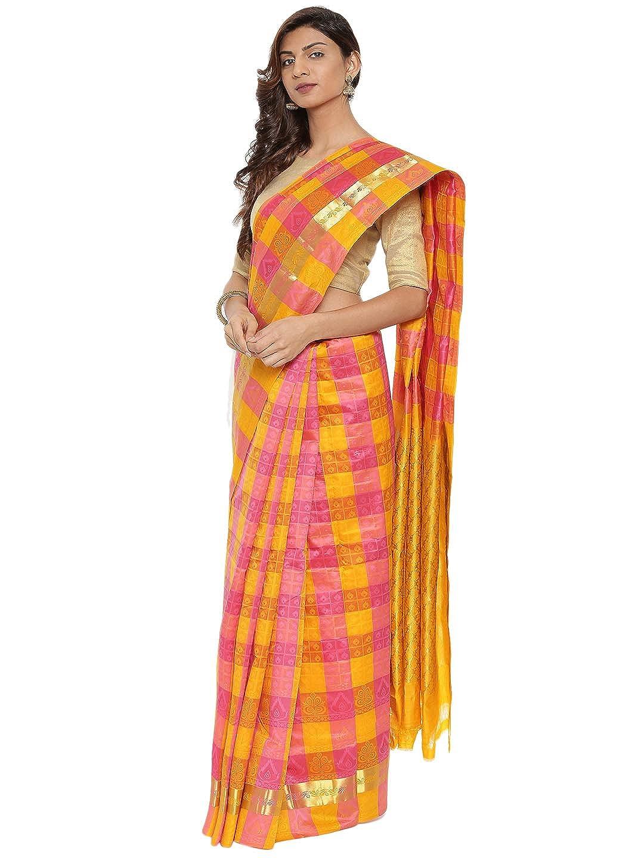 Yellow & Pink Kanchipuram Silk Saree With Running Blouse Collection