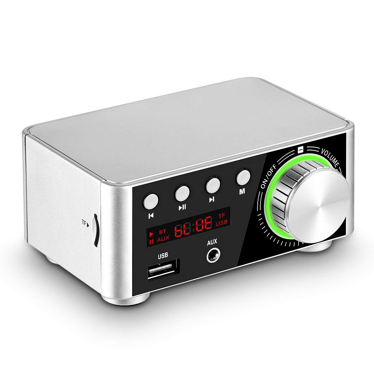 Mini Bluetooth 5.0 Digital Power Amplifier TF USB Music Player Stereo Audio Amp (Silver)