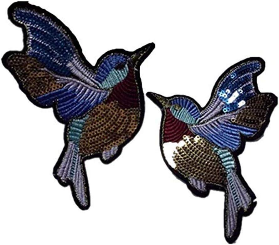 Toruiwa 2X Parches para Ropa Parches termoadhesivos Lentejuelas Parches de decoración DIY Parches Bordados Pegatina de pájaro con Lentejuelas