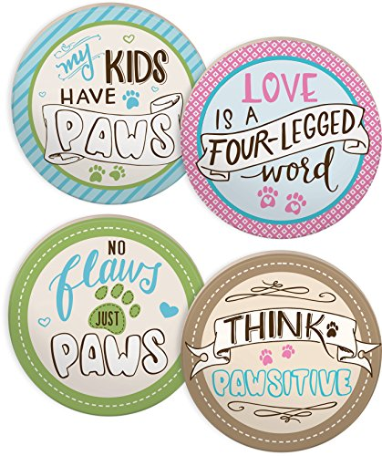 """Angelstar 13420 Pawsitive Inspiration Assorted Round Absorbent Coasters (Set of 4), 4"""", Multicolor"""