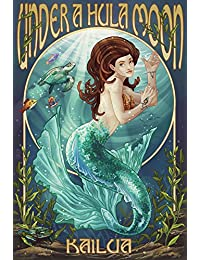 Acquisition Kailua, Hawaii - Under a Hula Moon - Mermaid (12x18 Art Print, Wall Decor Travel Poster) cheapest