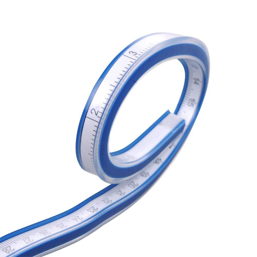 Flexible Curve Ruler Woodworking Soft Ruler Tape Measure Flexible Curve Ruler Craft Drafting Drawing Plastic Vinyl Measure Tape 60cm Blue