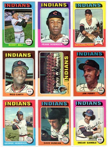 Cleveland Indians 1975 Topps Baseball Yoke Set (26 Cards) (Frank Robinson) (Buddy Bell) (Gaylord Perry) (Rico Carty) (Jim Perry) (George Hendrick) (Dave Duncan) (Oscar Gamble)