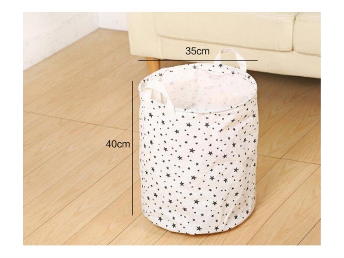 Gelaiken Lightweight Star Pattern Tote Storage Basket Waterproof Storage Bucket Cotton and Linen Storage Box (White)