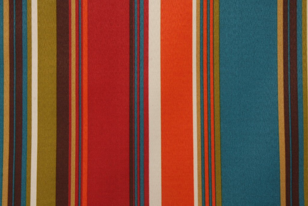 Resort Spa Home Set of 4 Indoor/Outdoor Pillows - Square Throw Pillows & 2 Rectangle/Lumbar Throw Pillows - Teal, Orange, Red, Yellow Stripe - Choose Size (22'' & 11'' x 19'')