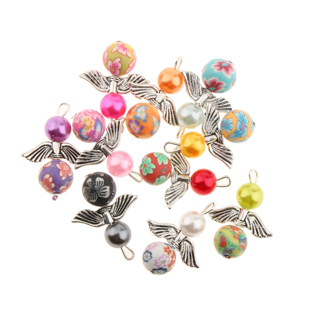 Fityle 10PCS Women Sweet FASHIONFINDINGS Mix Angel Charms Pendants ABS Pearl Beads Wings for Jewelry Making Crafting 22X31MM