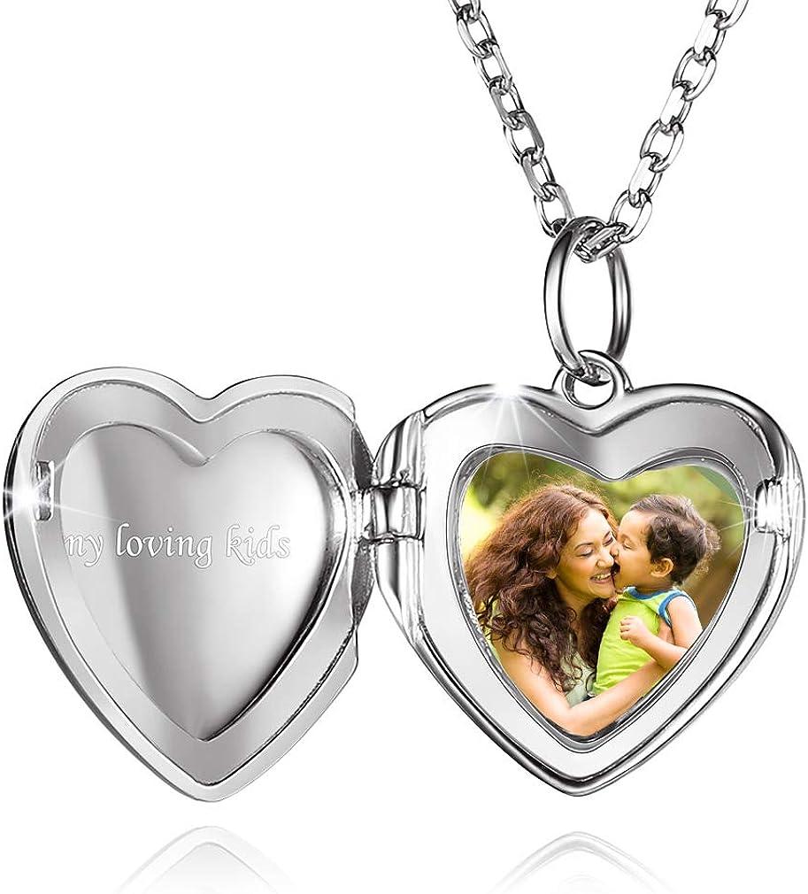 Custom4U Corazón Guardapelo Foto Personalizada Collar Locket Plata de Ley 925 / Acero Inoxidable 316L Joyería Conmemorativa Regalo Cumpleaños San Valentín Mujer