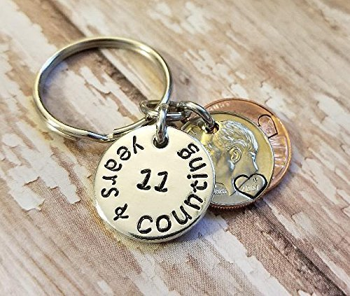 11 Years and Counting 11th Wedding Anniversary Key Chain 2007 Lucky Penny and Dime