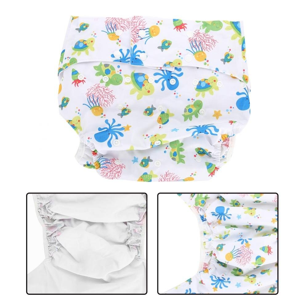 Cloth Diapers for Adult - Reusable, Washable Breathable Adjustable with Side Leaks, Strong Water Absorption, Leakproof Diapers for Elderly(Octopus+Tortoise) Sonew