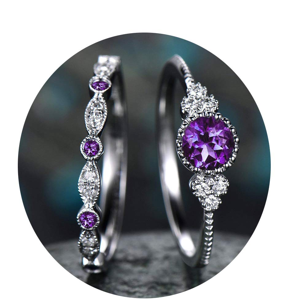2 Pcs Bead Diamond Engagement Rings for Women Girls Promise Wedding Rings Set for Him and Her Purple Artificial Gem Ring (Purple, 10)