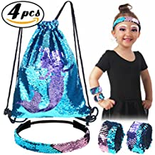 Pawliss Set of 4 Little Mermaid Magic Reversible Sequin Birthday Party Gifts for Girls Kids, Sequined Slap Bracelets Drawstring Bag Backpack Headband, Blue & Purple