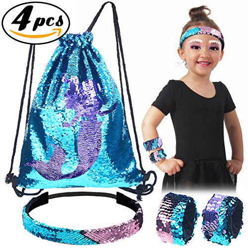 Pawliss Little Mermaid Set, Magic Reversible Sequin Birthday Party Gifts for Girls Kids, Sequined Slap Bracelets Drawstring Bag Backpack Headband, Blue & Purple, 4 pcs (Bag Drawstring Reversible)