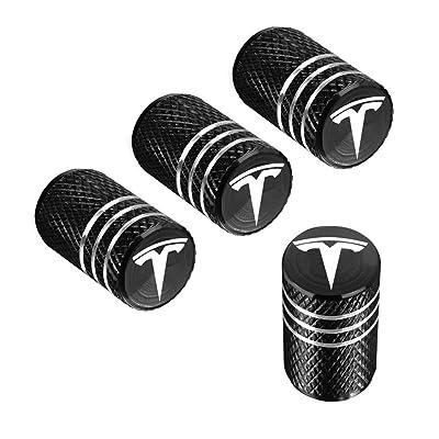 QINGTECH Kwen Valve Stem Caps,Tire Caps fit for Tesla Car,Motorbike,Trucks,Bike and Bicycle Aluminum 4pcs (Black): Automotive