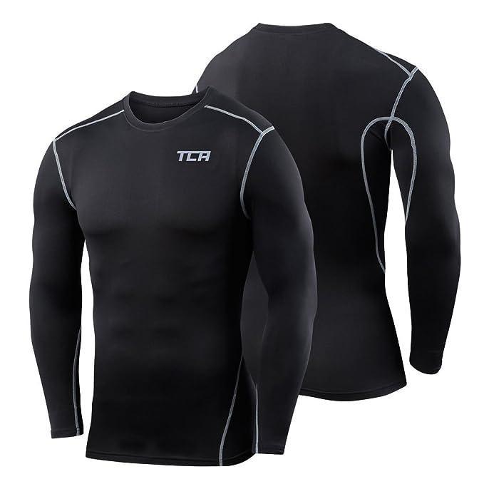 Homme T-Shirts De Compression Sport Maillot De Compression /À Manches Longues Thermique Col Roul/é