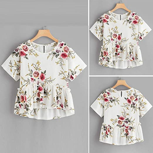 4d19c4ab Blouse for women tops for women Women's T Shirt Floral Print Ruffle Hem  Ruched Short Sleeve