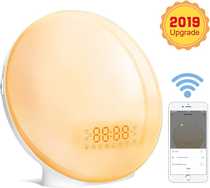 51 opinioni per Wake-up Light,Lampada da Comodino Radiosveglia Controllo Vocale Smart Sveglie