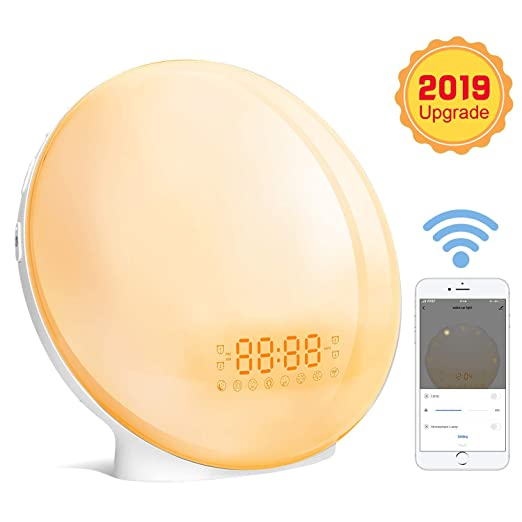Wake Up Light Wifi Inteligente Luces Despertador LED con Simulación de Amanecer/Atardecer Radio FM Función Snooze 8 Sonidos de Alarma 7 Luces de ...