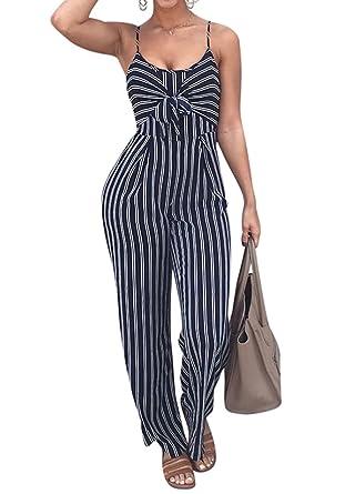 0e9b95726795 Amazon.com  FOUNDO Women s Sexy Spaghetti Strap Striped Long Wide ...