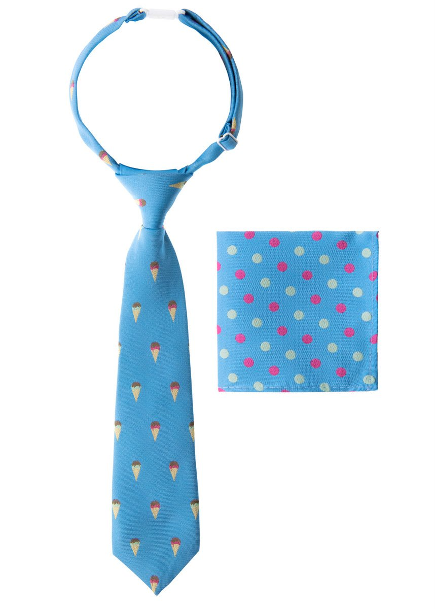 Canacana Sweet Ice Cream Woven Microfiber Pre-tied Boy's Tie with Polka Dots Pocket Square Gift Box Set - Baby Blue - 4 - 7 years, Christmas gift