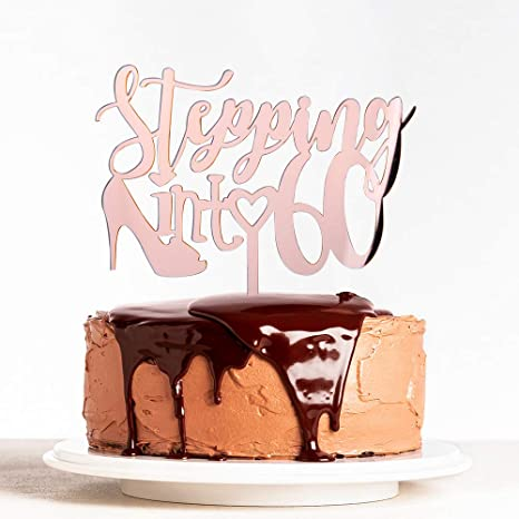 Sixty Acrylic Rose Gold Mirror 60th Birthday Cake Topper