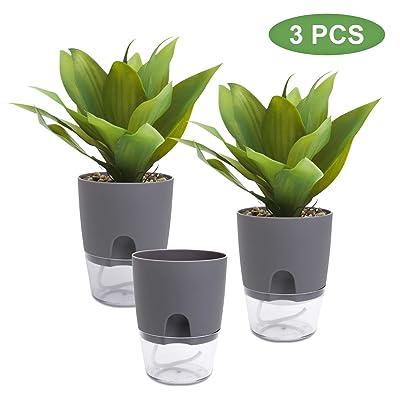 Self Watering Planter Pots, 3 Sets of Decorative Planter Flower Pot for Indoor House Plants (Grey) : Garden & Outdoor