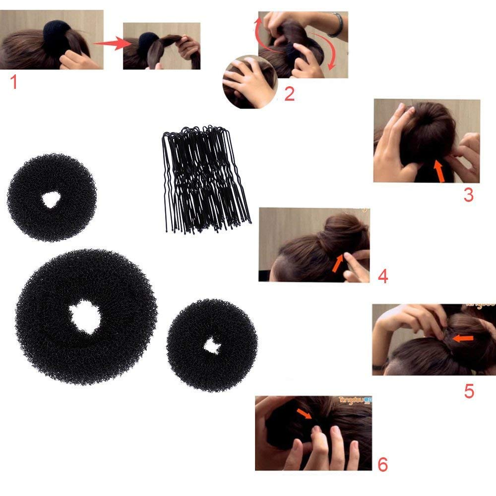 Hair Styling Bun Maker Accessories Set, Accessory for Styling Hair Band Fashion DIY Fast Bun French Braids Ponytails Maker Hair Elastics Modelling Braiding Tool Kit by DELOVE (Image #6)
