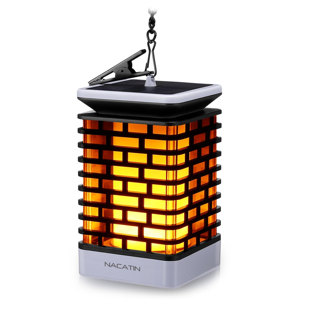 NACATIN 99 LEDs Solar Flame Lights, Outdoor Solar Lantern Lights Decorative Lamp with 50cm Hanging Chain and Clip for Home, Garden, Balcony, Yard, Automatic On/Off