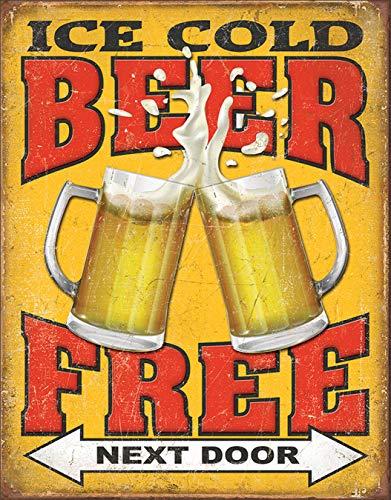 Desperate Enterprises Free Beer - Next Door Tin Sign, 12.5