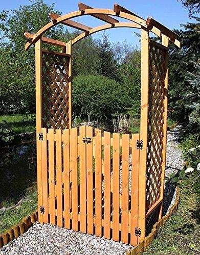 Rosenbogen mit Tor DIANA 130x70x206cm Rankhilfe Pergola Laubengang Kiefer Holz