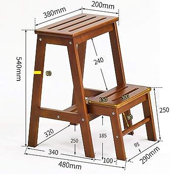 GYX Taburete plegable de 2 peldaños, hogar multifunción de madera maciza Escalera de 2 peldaños Cambio de banco de zapatos Taburete de peldaño de doble uso para interiores Taburete de escalera simple: