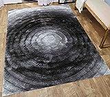 Cheap Shimmer Shag Fluffy Fuzzy Furry Soft 8×10 Shag Shaggy Modern Contemporary Gray Grey Area Rug Carpet Circles Viscose Yarns Hand Tufted Two Tone 3D Pattern Bedroom Living Room ( SAD 281 Gray )
