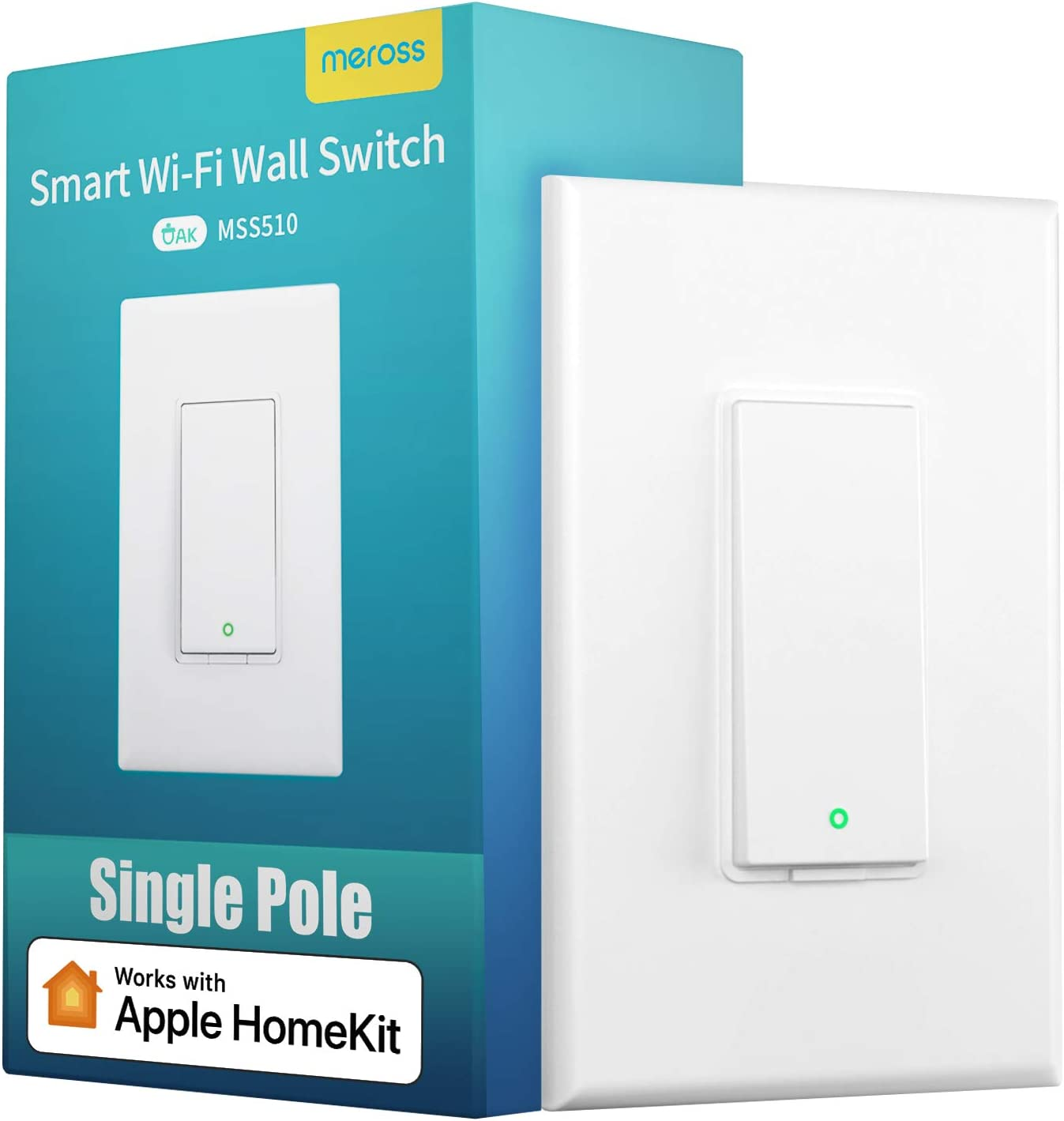 meross Smart Light Switch Works with Apple Homekit, Siri, Alexa and Google Assistant, 2.4Ghz WiFi Light Switch, Neutral Wire Required, Single Pole, Remote Control, Schedule, No Hub Needed, 1 Pack