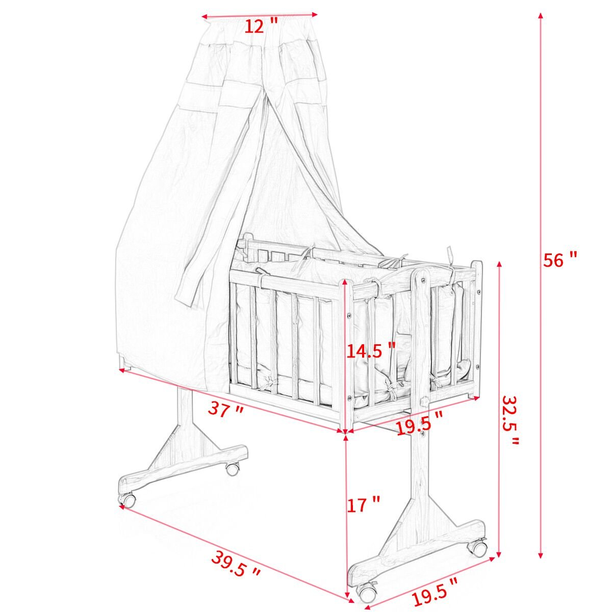 JAXPETY Wood Baby Cradle Rocking Crib Bassinet Bed Sleeper Portable Nursery Blue by JAXPETY (Image #9)