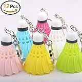 Porte-clés badminton, mignons originals en forme de ball de badminton de plusieurs couleurs-lot de 12 Porte-clés