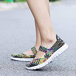 YOPAIYA Viejo Hombre Transpirable Zapatos artesanales Tejidas Moda Mujer Zapatos cómodos Wovening Wome Ligero