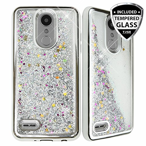 LG ARISTO 2 X210 Case, LG Tribute Dynasty Case, LG REBEL 3 LTE Case, with TJS [Full Coverage Tempered Glass Screen Protector] Creative Luxury Bling Glitter Sparkle Liquid Phone Case Cover (Silver)