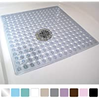 Gorilla Grip Original Patented Bath, Shower, and Tub Mat (21x21), Machine Washable, Antibacterial, BPA, Latex, Phthalate Free, Square Bathroom Mats with Drain Holes and Suction Cups