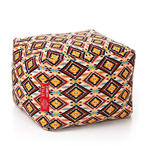 Style Homez Square Cotton Canvas Geometric Printed Bean Bag Ottoman L Size Cover Only ()