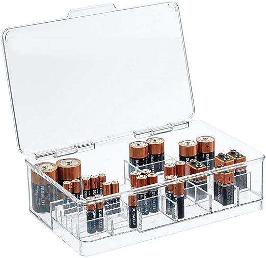 mDesign Contenedor de Pilas de Diversos tamaños – Caja con Compartimentos apilable y con Tapa para Usar como portapilas – Cajas de plástico para Guardar Pilas y baterías – Transparente: Amazon.es: Hogar